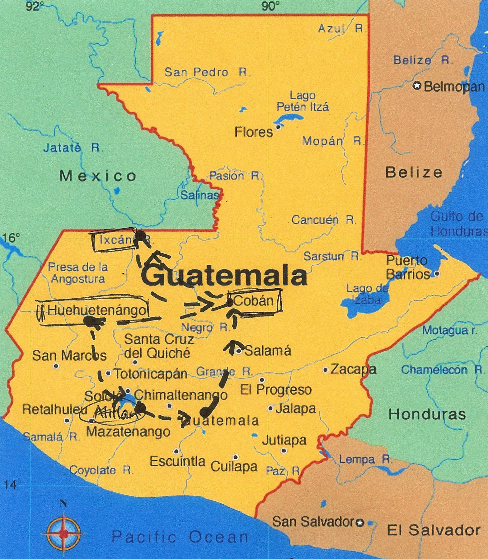 Map Of Guatemala Heifer  X - Map of usa with deserts