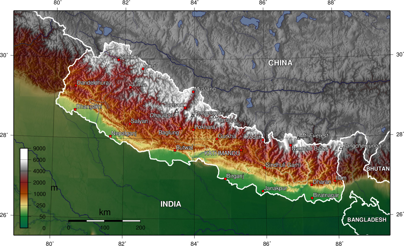 topographic map of nepal | Heifer 12 x 12