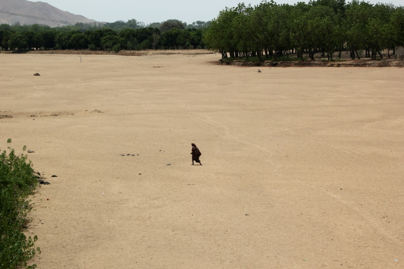 A dried-up riverbed on the edge of Maroua.