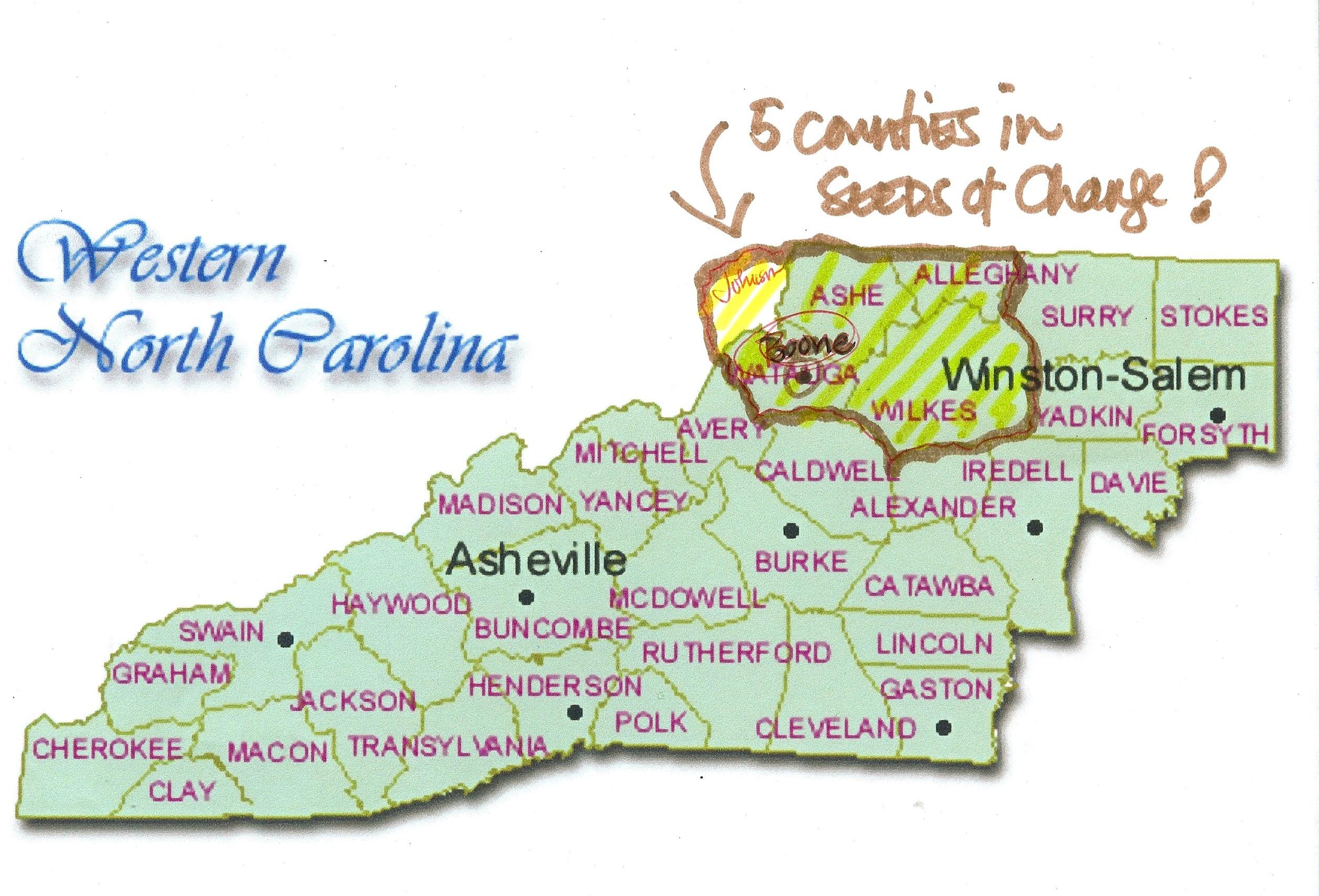 Map Of Western NC Heifer X - Full map of north carolina