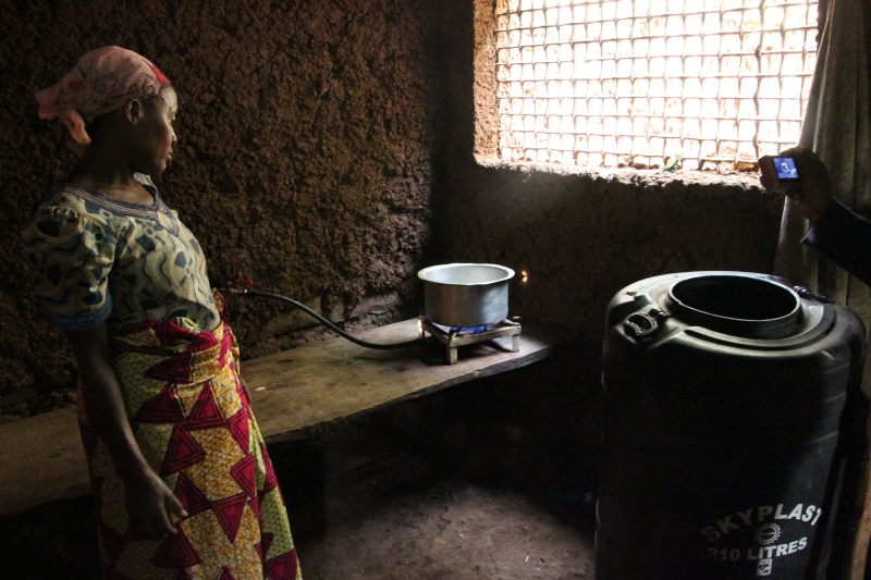 Biogas - a giant leap for woman-kind: no collecting wood/cooks in half the time!