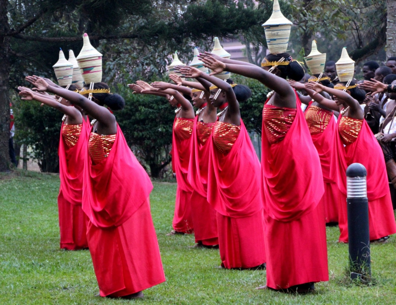 The beautiful umushagiriro (cow dance) -- I guess those are their horns.