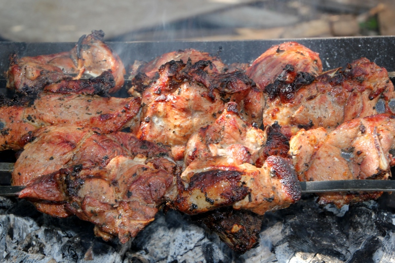 Pork on the grill -- Armenian BBQ