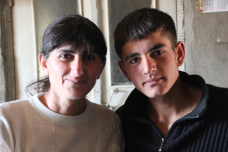 "Armine and her son Ishkhan, 16, who wants to become a farmer and extend the family lands. ""Before we were counting on the state. Now we count on ourselves."""