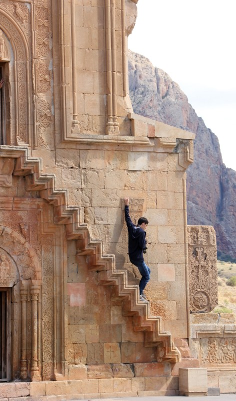 The treacherous steps at Noravank Monastery remind Armenians that it's difficult to go up to God, but harder to move away from Him.