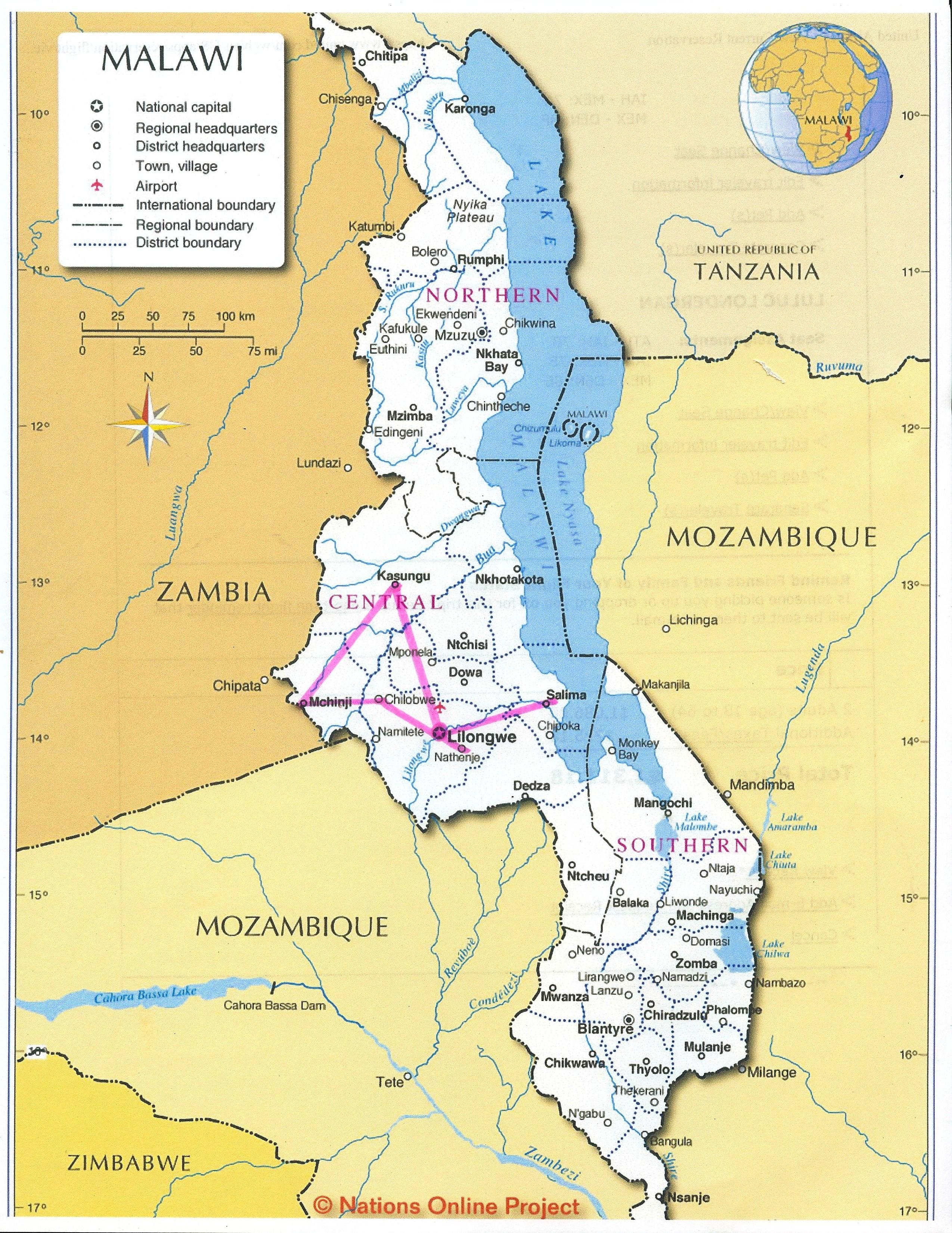 Map of Malawi Heifer 12 x 12