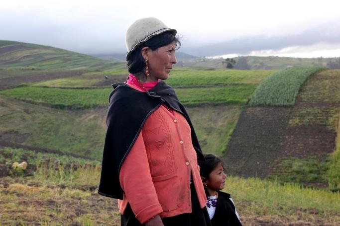 Gloria & Lizbeth Pomaquiasa on their land.