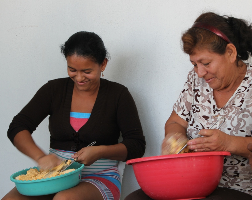 You can never stop their hands from moving -- specially when they're shredding plantains!