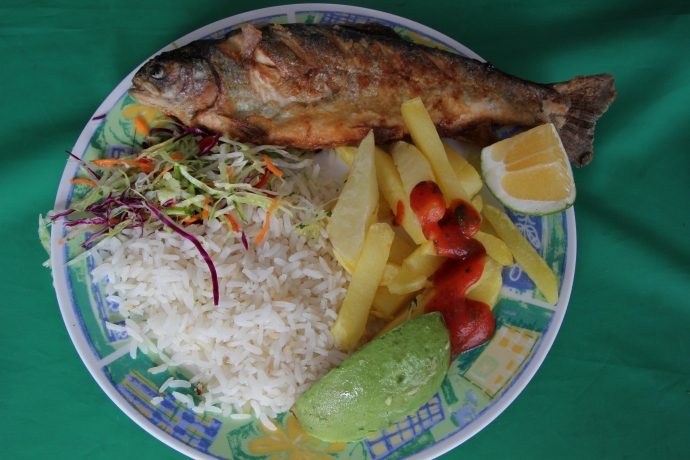 Fried trout -- a lunch tipico!