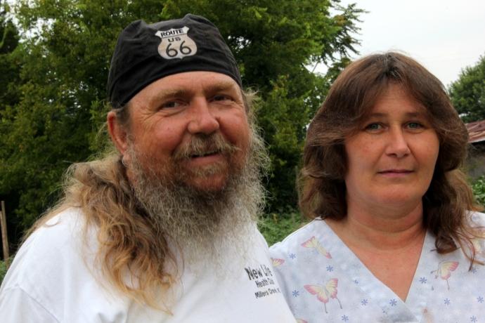 Biker/gardener Duncan and his wife